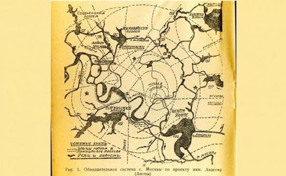 Обводнительная система г. Москвы. Проект инженера Авдеева, 1932 г.